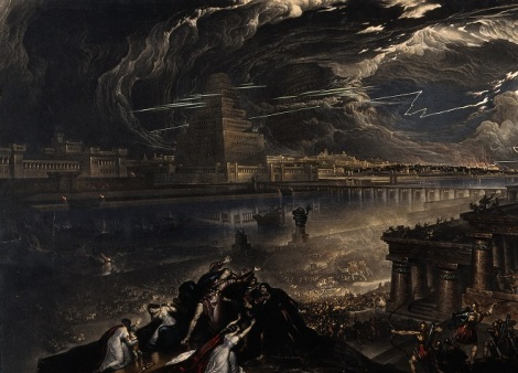 King Cyrus defeating Babylon entering by the river Euphrates